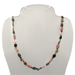 Necklace Oval/Beads, Tourmaline (multicolour), 05mm/48-54cm