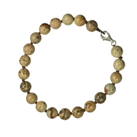 Bracelet, Jasper (Picture Jasper), 08mm Beads, Metal Clasp