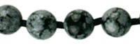 Necklace Beads, Obsidian (Snowflake), 06mm/45cm