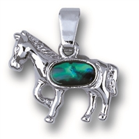 "Pendant ""Horse"", Paua Shell with chain