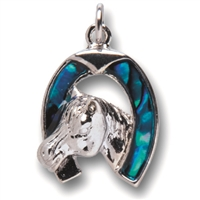 "Pendant ""Horseshoe"", Paua Shell with chain