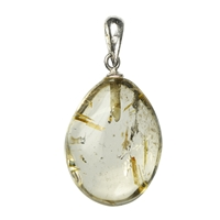 Pendant Tumbled Stone Rutilated Quartz with 925 Silver eyelet