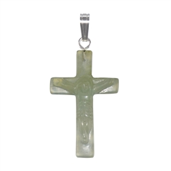 Pendant Cross with Jesus, Serpentine, 3,5cm