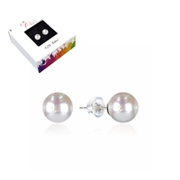 Earpins Pearl (bleached), Spheres, 6mm