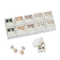 Earpin Pearl (mixed colours), Sphere, 6mm (10 pairs/set)