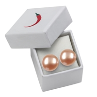 Stud Earrings Pearls salmon (natural), Spheres, 8mm