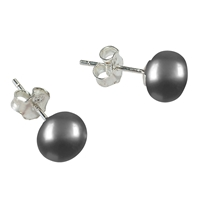 Stud Earrings Pearls silver-grey (dyed), Spheres, 8mm