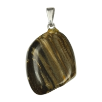 Pendant Tumbled Stone Petrified Wood with 925 Silver eyelet