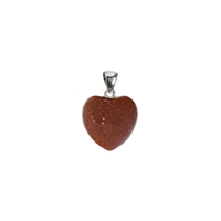 Pendant Heart Sandstone (glass), Metal Loop, 20mm