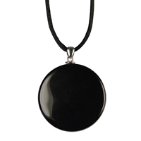 Mirror Obsidian with Silver Eyelet and Cord, 4cm