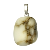 Pendant Tumbled Stone Howlite with 925 Silver eyelet