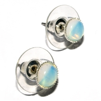 Earpins, Opal glas (synt.), 06mm-Cabochon, for Stand-alone display