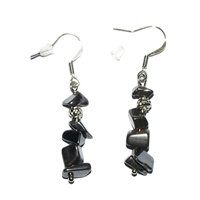 Chips Earrings, Hematine, appr. 4cm, for Stand-alone display