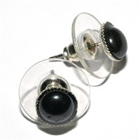 Earpins, Hematine, 06mm-Cabochon, for Stand-alone display