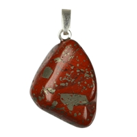 Pendant Tumbled Stone Jasper with Pyrite with 925 Silver eyelet