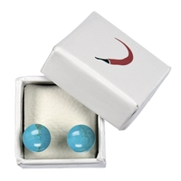 Stud Earrings Turquenite (dyed Magnesite), Spheres, 8mm