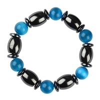 Bracelet, Hematine/Cat's Eye blue