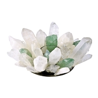 Design Candle Holder Rock Crystal and Fluorite green