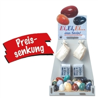 Table Display Eggs, 50 gem eggs 4cm, mixed sorts with accessoires