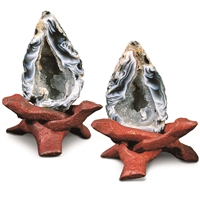 Agate luck-geodes, pair 5cm with cobra-stands