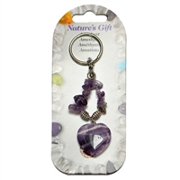 Key Chain, Heart, Amethyst, appr. 09cm, for Stand-alone display