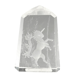 Engraved Unicorn in Rock Crystal