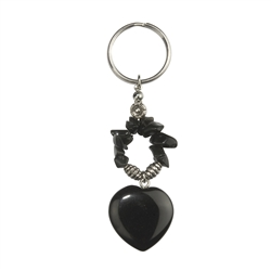 Key chain, Heart, Onyx (coloured), 09cm, for Stand-alone display