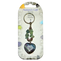 Key chain, Heart, Fluorite, app. 09cm, for Stand-alone display