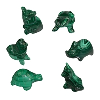 6 Animals Malachite in Set, appr. 30 - 45mm