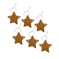 Christmas Decoaration, Sandstone brown tone (synth. Glass), 6 Stars, app. 4cm