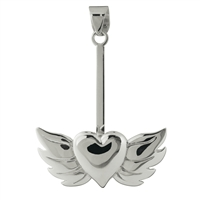 "Donut Holder ""Heart with Wings"" Silver, for 30 - 40mm donut"
