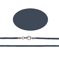Wax Cotton Necklace with Silver Clasp, dark blue, 1,5mm x 45cm