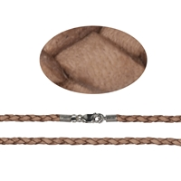 Leather Choker plaited nature, 3mm x 45cm