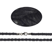 Cotton chocker, black, waxed, twisted, with silver clasp, 3mm x 45cm