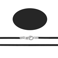Rubber Chocker with Silver Clasp, black, 2mm x 50cm