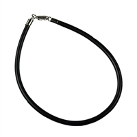 Rubber Bracelet, black, 3mm x 19cm