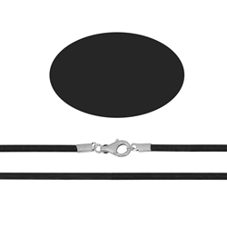 Rubber Choker with Silver Clasp, black, 3mm x 38cm