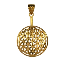 "Donut Holder ""Flower of Life"" Silver gold plated, for 40mm donut"