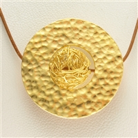 Varius Circle Silver gold plated hammered, 40mm