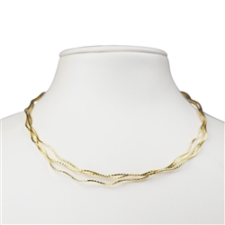 Omega Choker, Silver gold plated,  2mm x 40cm, multiple cords