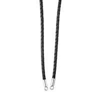 Leather Cord with Endcaps, black, 4mm x 42cm