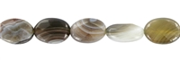 String flat Oval, Agate (Botswana agate), faceted, 14mm