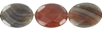 String flat Oval, Agate (Botswana), faceted, 20mm