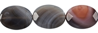 String flat Oval, Agate (Botswana), faceted, 25mm
