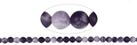 String Beads, Amethyst (partly Ametrine) light, frosted, 08mm