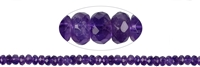 String Button, Amethyst, faceted, 08mm