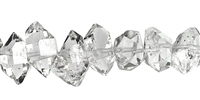 String Double endings, Rock Crystal (Herkimer Type, Pakistan) natural, side drilled, 07-10 x 10-15mm