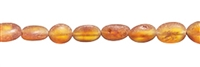 String Tumbled stones longish, Amber, cognac medium matt, appr. 06mm
