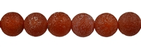 String Beads, Carnelian (heated), antique frosted, 12mm