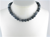 String Beads, Onyx furrowed (dyed), frosted, 10mm, appr. 37cm